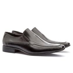 Sapato Social Masculino Leblon Em Couro Ref-667 Pr... - Sapatos de Franca