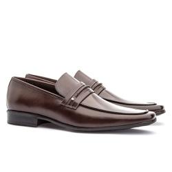 Sapato Social Masculino Slim Em Couro Ref-809 Café - Sapatos de Franca