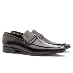 Sapato Social Masculino Slim Em Couro Ref-809 Pret - Sapatos de Franca