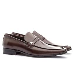 Sapato Social Masculino Slim Em Couro Ref-812 Café - Sapatos de Franca