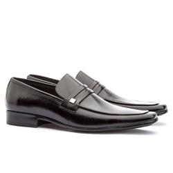 Sapato Social Masculino Slim Em Couro Ref-812 Pret - Sapatos de Franca