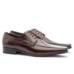 Sapato Social Masculino Slim Em Couro Ref-864 Café - Sapatos de Franca