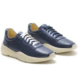 Tênis Casual Masculino Em Couro Ref-45002 Marinho - Sapatos de Franca