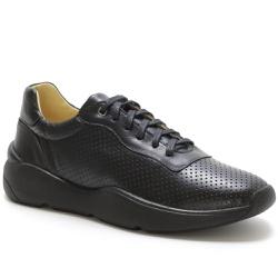 Tênis Casual Masculino Em Couro Ref-45002 Preto - Sapatos de Franca