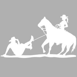 Adesivo Cowgirl Laçando Cowboy (Branco) - Selaria Pinheiro