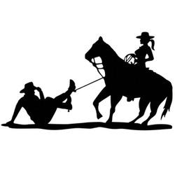 Adesivo Cowgirl Laçando Cowboy (Preto) - Selaria Pinheiro