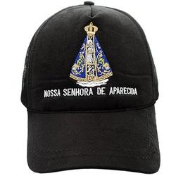 Boné Nossa Senhora Aparecida (preto) - Selaria Pinheiro