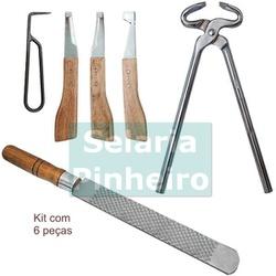 Kit para Ferrar e Casquear c/ Torquês Cromada + Grosa BJ30 + Kit de Rinetes BJ30 (Total 6 peças) - Selaria Pinheiro