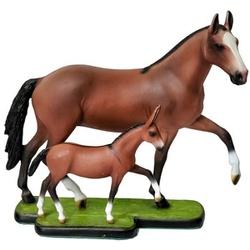 Escultura Miniatura de Égua com Potrinho Mangalarga - Selaria Pinheiro