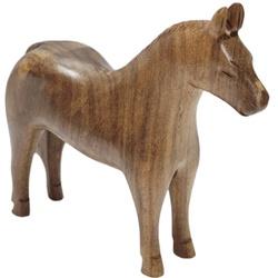 Escultura Miniatura de Cavalo em Madeira Maciça - Selaria Pinheiro