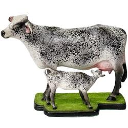 Escultura Miniatura de Vaca e Bezerro Girolando - Selaria Pinheiro