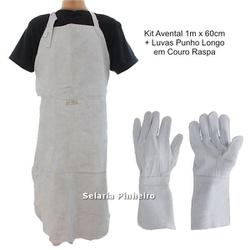 Kit Avental de Couro Raspa + Luvas de Proteção em Couro Punho Longo - Selaria Pinheiro