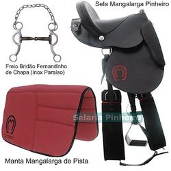 Kit Sela Mangalarga Pinheiro (Preta) + Manta + Bridão Fernandinho (Inox Paraíso) - Selaria Pinheiro