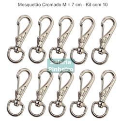 kit 10 Mosquetões Cromados M (7 cm) - Selaria Pinheiro