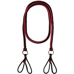 Rédea de Luxo em Cordas Trançadas (Preta e Vermelha) - Selaria Pinheiro