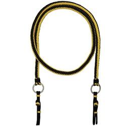 Rédea de Luxo em Cordas Trançadas (Preto e amarelo) - Selaria Pinheiro