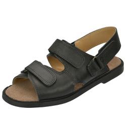 Sandália de Couro Preta com Velcro Linha Conforto ... - SELTENBRASIL