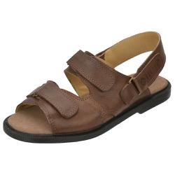 Sandália de Couro Marrom com Velcro Linha Conforto... - SELTENBRASIL