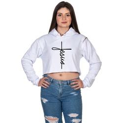 Cropped Moletom Feminino Branco Cruz Jesus - Selte... - SELTENBRASIL