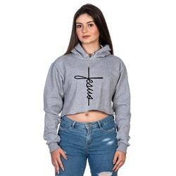 Cropped Moletom Feminino Cinza Cruz Jesus - Selten - SELTENBRASIL