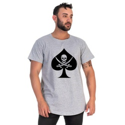 Camiseta Masculina Long Line Caveira Cinza -Selten - SELTENBRASIL