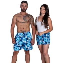 Short Bermuda Praia Summer Kit Casal Azul Floral - SELTENBRASIL