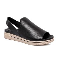 Sandália Feminina Flat Bottero 306702 Couro Preto - 84465 - Sensação Store