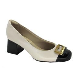 Sapato Feminino Salto Grosso Modare 7352102 Creme - 86885 - Sensação Store