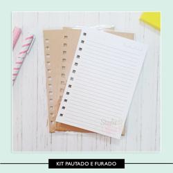 Kit Caderneta Pautado (forrado e furado) - 73DAB6 - Studio Office K