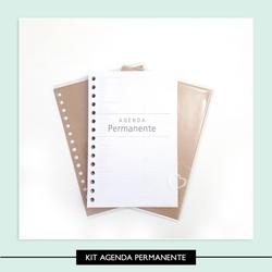 Kit Agenda Permanente - Forrado e Furado - 404B7D - Studio Office K