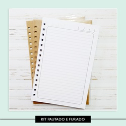 Kit Caderno pautado - forrado e furado - 74ACBB - Studio Office K