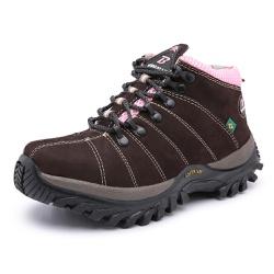 Bota Adventure em Couro Marrom / Rosa - Top Franca Shoes | Calçados confortáveis em Couro
