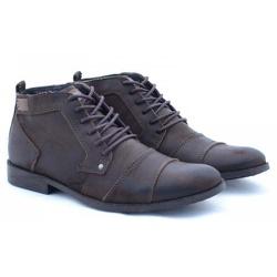 Bota Coturno Masculino Casual Top Franca Shoes Caf - Top Franca Shoes | Calçados confortáveis em Couro