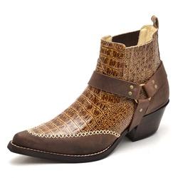 Bota Country Bico Fino Masculina Anaconda Caramelo - Top Franca Shoes | Calçados confortáveis em Couro