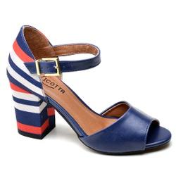 Sandália Feminina Salto Alto Grosso Azul/Vermelho - Top Franca Shoes | Calçados confortáveis em Couro