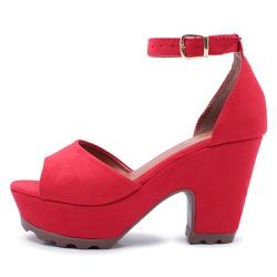 Sandália Feminina Salto Alto Grosso Vermelho - Top Franca Shoes | Calçados confortáveis em Couro