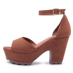 Sandália Feminina Salto Alto Grosso Chocolate - Top Franca Shoes | Calçados confortáveis em Couro