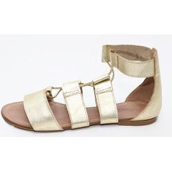 Sandália Feminina Gladiadora Top Franca Shoes Dour... - Top Franca Shoes | Calçados confortáveis em Couro