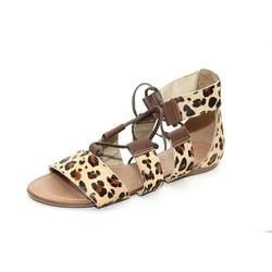 Sandália Feminina Gladiadora Top Franca Shoes Onça... - Top Franca Shoes | Calçados confortáveis em Couro