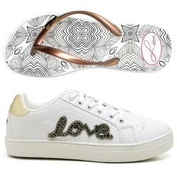 Kit Feminino Tênis Love + Chinelo Sandália Rasteir... - Top Franca Shoes | Calçados confortáveis em Couro