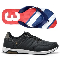 Kit Tênis Masculino Jogging + Chinelo Sandalia Cam... - Top Franca Shoes | Calçados confortáveis em Couro