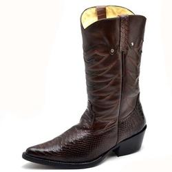 Bota Masculina Country Bico Fino Cano Alto Cafe - Top Franca Shoes | Calçados confortáveis em Couro