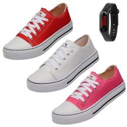Kit 3 Pares Sapatênis Feminino Casual + Relógio Di... - Top Franca Shoes | Calçados confortáveis em Couro
