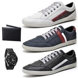 Kit Pares Sapatenis Masculino + Relogio + Carteir... - Top Franca Shoes | Calçados confortáveis em Couro