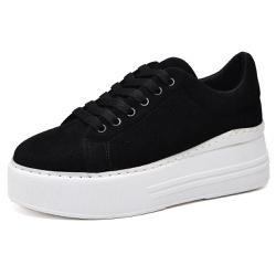 Tênis Sapatênis Feminino Casual Sola Alta Preto - Top Franca Shoes | Calçados confortáveis em Couro