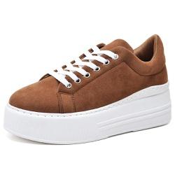 Tênis Sapatênis Feminino Casual Sola Alta Marrom - Top Franca Shoes | Calçados confortáveis em Couro