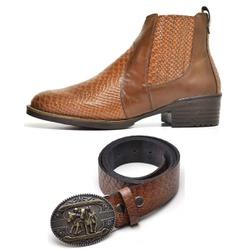 Kit Bota Texana Country Masculina Escamada Caramel... - Top Franca Shoes | Calçados confortáveis em Couro