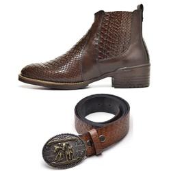 Kit Bota Texana Country Masculina Escamada Cafe + ... - Top Franca Shoes | Calçados confortáveis em Couro
