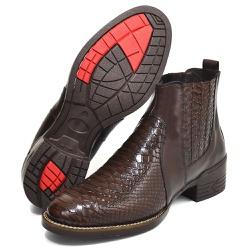 Bota Texana Country Masculina Escamada Cafe - Top Franca Shoes | Calçados confortáveis em Couro