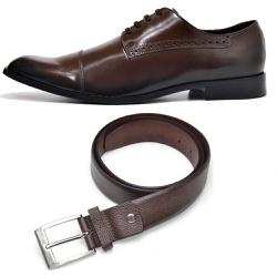 Kit Sapato Social Executivo Sola Couro + Cinto Soc... - Top Franca Shoes | Calçados confortáveis em Couro